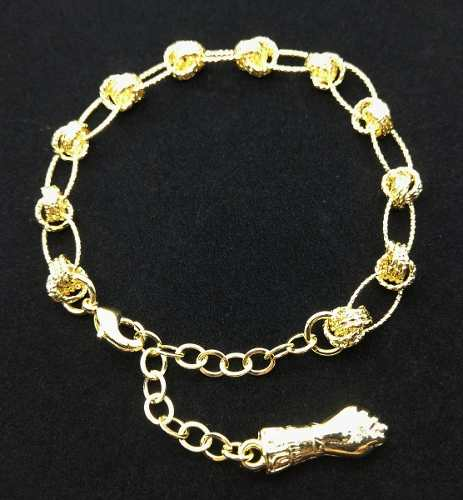 Pulseira Infinito E Elipses Diamantadas Banho Ouro 18k 3527