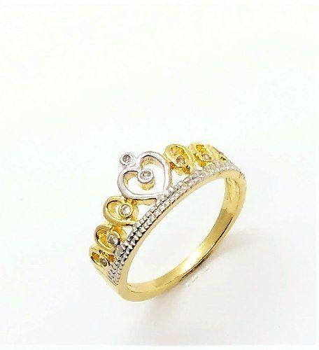 Anel Coroa Rodinada Com Zirconias Banho Ouro 18k 3528