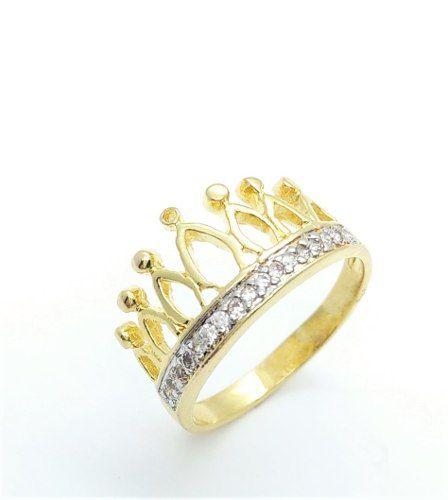 Anel Coroa Cravação Microzirconias Banho Ouro 18k 3517