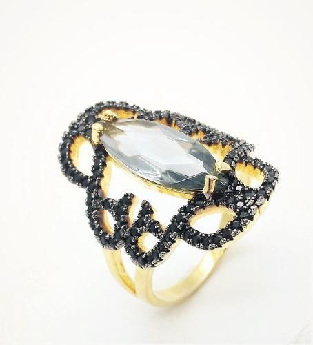 Anel Cristal Água Marinha E Zirconias Negras Banho Ouro 3489