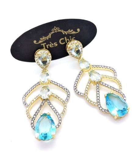 Brincos Cristal Turmalina Azul Neon Zirconia Banho Ouro 18k 3494