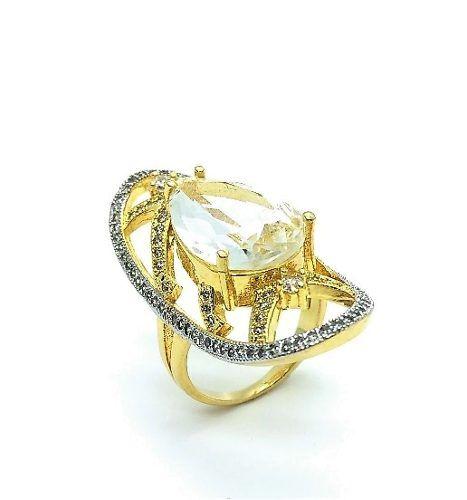 Anel Cristal De Rocha E Xadrez De Microzirconias Banho Ouro 18k 3475