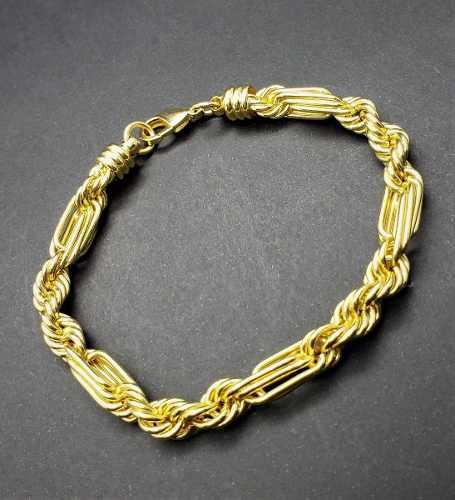 Pulseira Trançada 20cm Banho Ouro 18k 1826