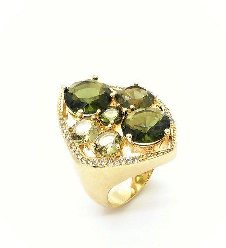 Anel Cristais Green Gold Ametrino E Quartzo Fumée Com Microzirconias Banho Ouro 18k 3345