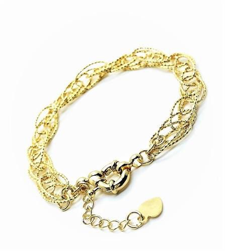 Pulseira Enlace Elos Diamantados Banho Ouro 18k 3271