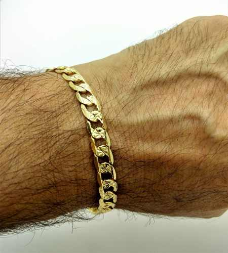 Pulseira Masculina Grumet Diamantada 21cm Banho De Ouro 18k 1828