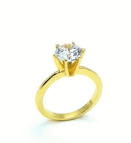Anel Solitário Cristal Banho Ouro 18k 3266