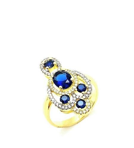Anel Cristais Azul Safira Microzirconias Tamanho 23 Banho Ouro 18k 3238