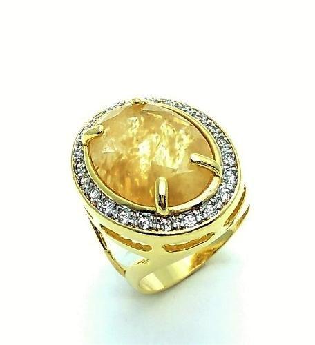 Anel Cristal Rutilo E Moldura Microzirconias Banho Ouro 18k 3218