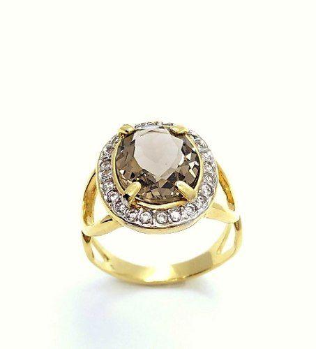 Anel Imperatriz Cristal E Microzirconias Banho Ouro 18k 3217