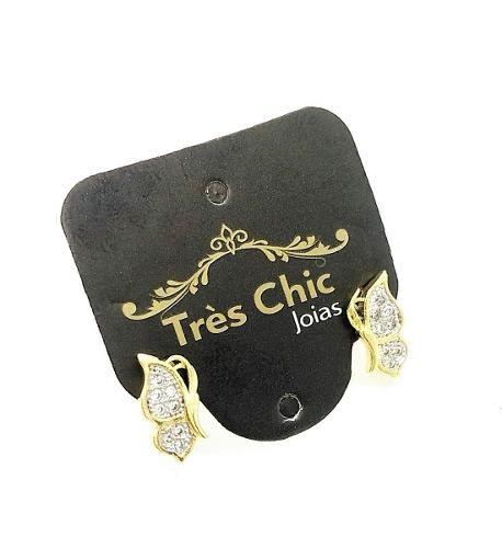 Brincos Borboleta Cravejados De Zirconias Banho De Ouro 18k 3212
