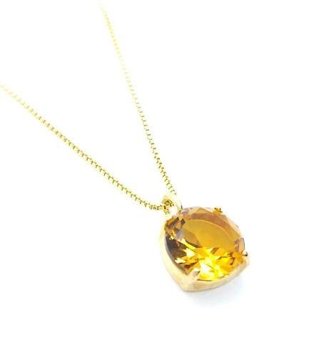 Cordão Com Pingente Cristal Citrino Madeira Banho Ouro 18k 4507