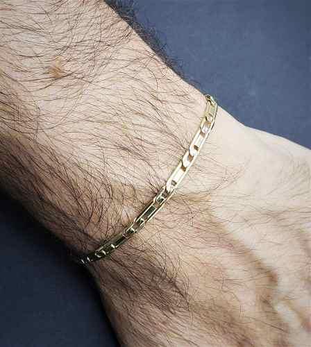 Pulseira Masculina Piastrine 4mm 21cm Banhada A Ouro 18k 569A