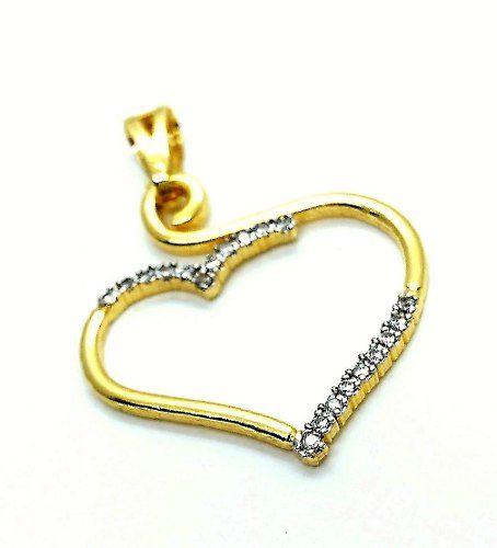 Pingente Coração Vazado Microzirconias Banho Ouro 18k 3202