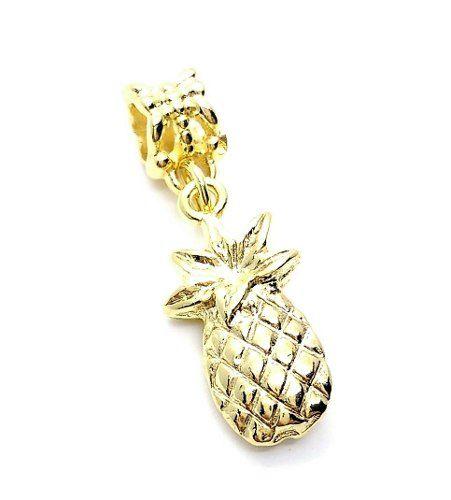 Pingente Berloque Fruta Abacaxi Banho Ouro 18k 3194