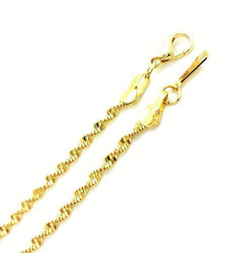 Corrente Colar Cordão Singapura 2,1mm 40cm Banho De Ouro 18k 3152