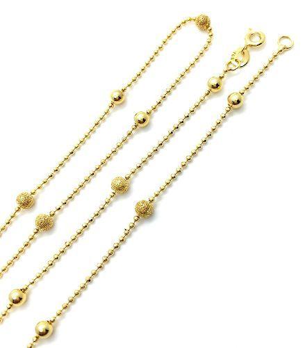 Colar Bolinhas Lisas E Diamantadas 80cm Banho Ouro 18k 3147