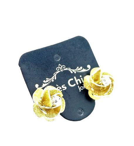 Brincos Flor Pétalas Em Camadas Com Cristal Banho De Ouro 18k 3146