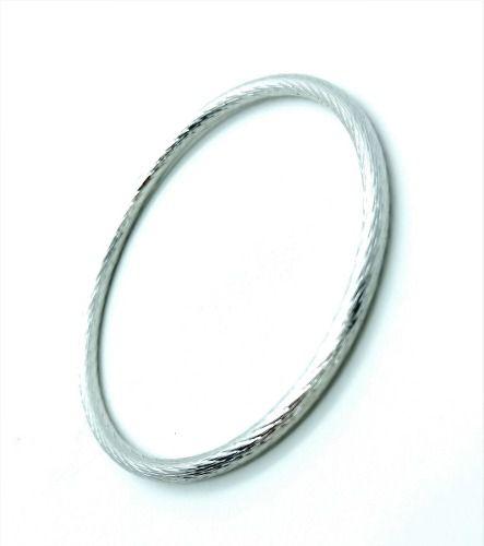 Bracelete Prateado Escovado Banho Ródio Claro 3106