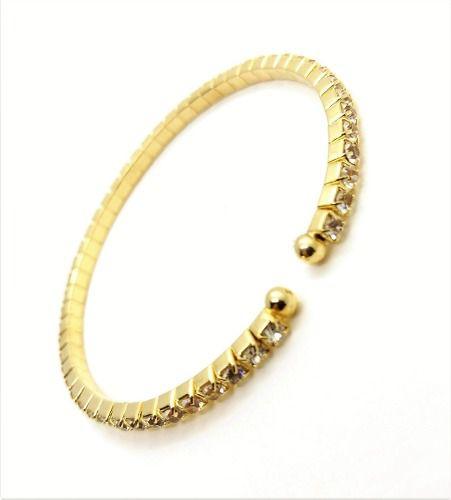 Bracelete Flexível Cristal Banho Ouro 18k 3100