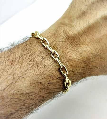 Pulseira Masculina Cadeado 19cm Banho De Ouro 18k 3089