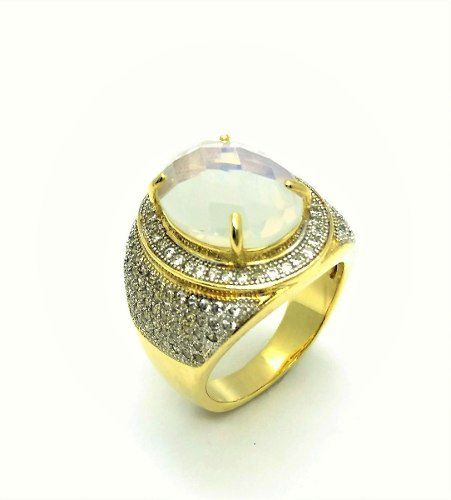 Anel Cristal Oval E Cravação Pavé Microzirconias Banho Ouro 18k 2598