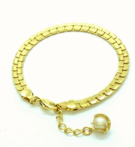 Pulseira Malha Diamantada Pingente Pérola Banho Ouro 18k 3061
