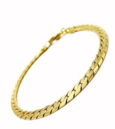 Pulseira Elos Serpentina Cobra 18cm Banho Ouro 18k 3056