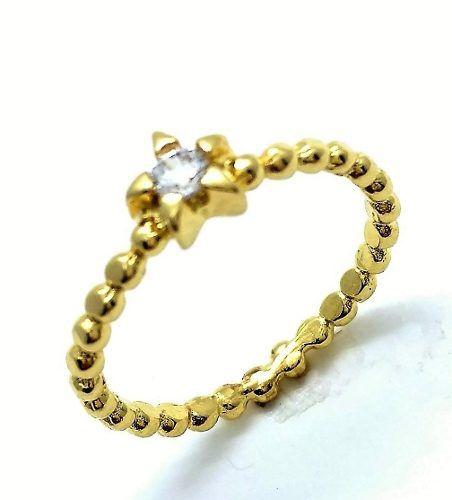 Anel Estrela Zirconia Cristal Aro Bolinhas Banho Ouro 18k 3052