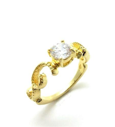 Anel Solitário Zirconia Com Aro Decorado Banho Ouro 18k 3045