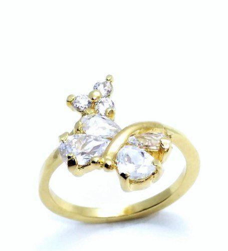 Anel Borboleta E Flor Zirconias Cristal Banho Ouro 18k 3042