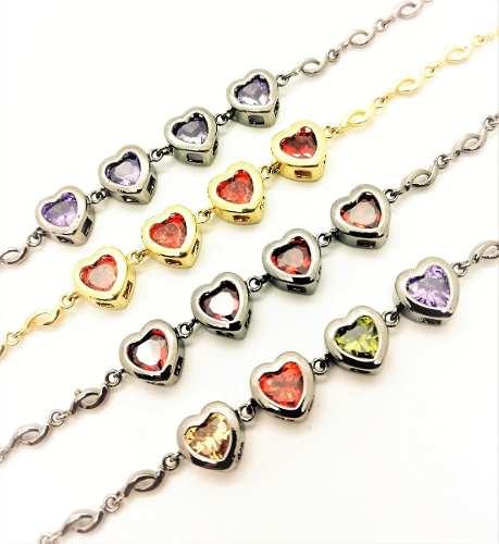 Pulseira Corações De Zirconias Coloridas 3039