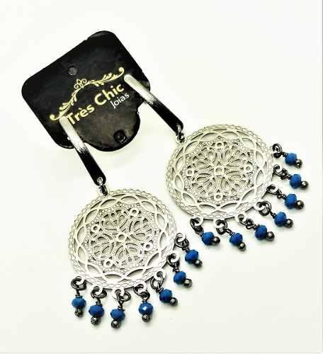 Brincos Círculo Rendado Miçangas Azuis Em Banho Ródio Negro 3035
