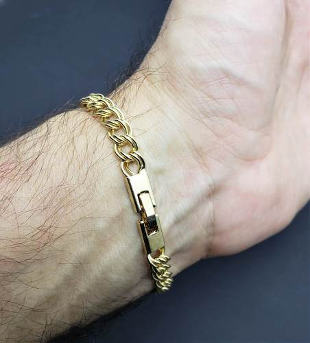 Pulseira Masculina Grumet Elos Duplos 22cm Banho Ouro 18k 2231
