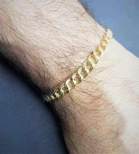 Pulseira Masculina Grumet Elos Duplos 22cm Banho De Ouro 18k 2231
