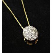 Cordão Com Pingente Oval Cravejado Pavé Microzirconias Banho Ouro 18k 3625