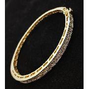 Bracelete Algema Cravação Pavé Zirconias Banho Ouro 18k 3584