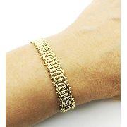 Pulseira Malha Diamantada Banho Ouro 18k 3514