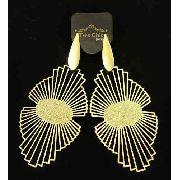 Brincos Leque Raiado Texturizado Banho Ouro 18k 3408