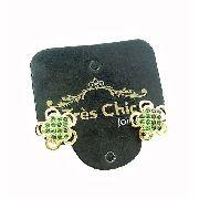 Brincos Trevo Zirconias Verde Turmalina Banho Ouro 18k 3226
