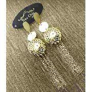 Brincos Balões Decorados Com Franjas Banho Ouro 18k 3073