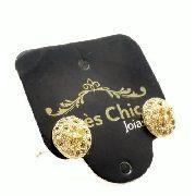 Brincos Botão Cristal Citrino E Microzirconias Banho Ouro 18k 2972