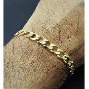 Pulseira Masculina Grumet Diamantada 22cm Banho De Ouro 18k 2571