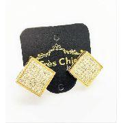 Brincos Cravação Pavé Microzirconias Cristal Banho Ouro 2535