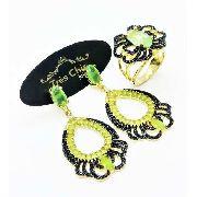 Conjunto Anel e Brincos Cristais Verde Peridoto Cravejado Negro Banho De Ouro 18k 3706 3707