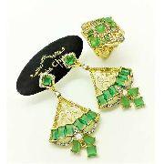 Conjunto Anel e Brincos Verde Turmalina Cravejado Zirconias Banho Ouro 18k 3692 3693