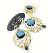Anel e Brincos Pedra Azul Cravejados De Zircônias Banhados A Ouro 18k 3381 3382