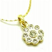 Cordão Com Pingente Flor Cristal Banho Ouro 18k 2655