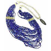 Maxi Colar de Contas Azuis 26 Fios Detalhe Bolinhas Douradas 2108