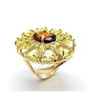 Anel Flor De Cristais Banho Ouro 18k 2253